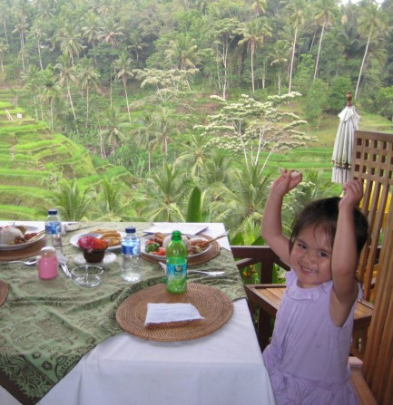 Eating at a restaurant in Ubud, Bali